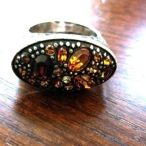 Silver Brighton Ring With Brown & Orange Accents
